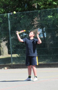 A pupil taking a shot at a Sportivate Tennis session